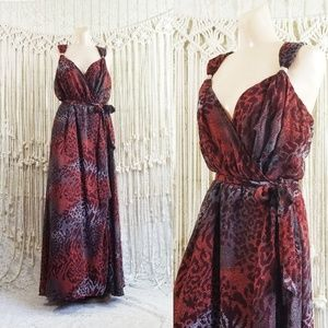 🍂 Red Ochre Print Chiffon Draped Wrap Maxi Dress